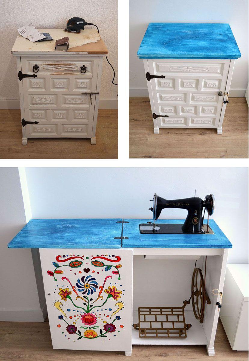 Como restaurar un mueble con máquina de coser y darle otro